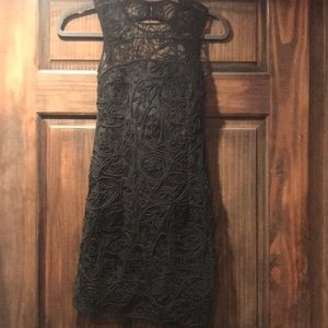 Black lace body con dress